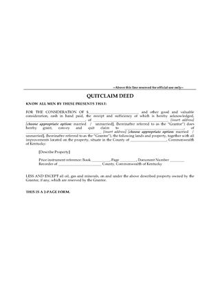 Picture of Kentucky Quitclaim Deed