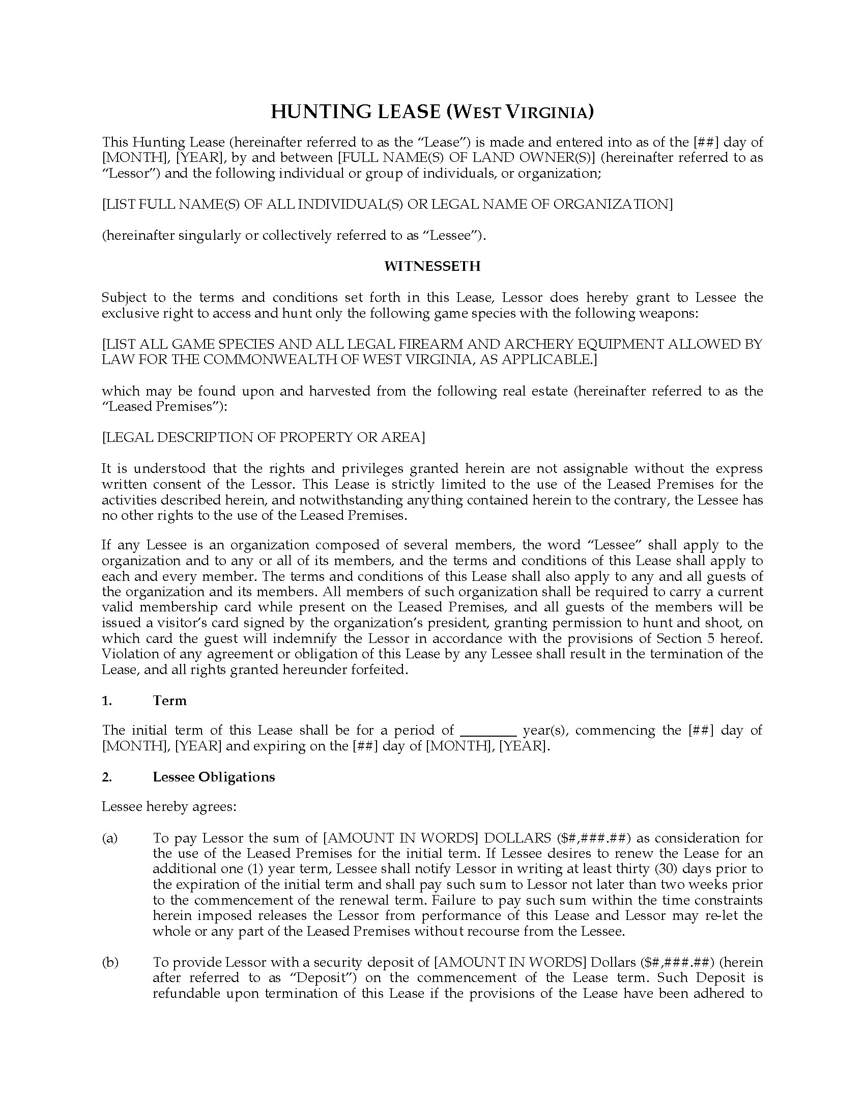 West Virginia Hunting Lease Agreement – Hunting Lease Agreement