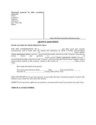 Picture of New York Quitclaim Deed