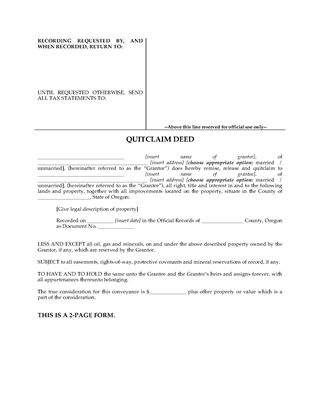 Picture of Oregon Quitclaim Deed