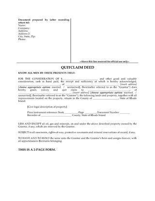 Picture of Rhode Island Quitclaim Deed