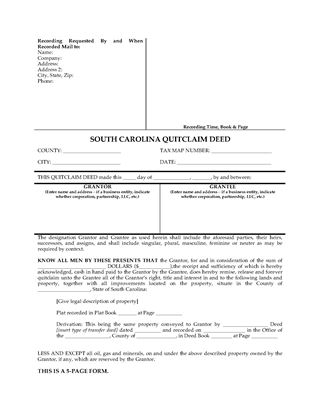 Picture of South Carolina Quitclaim Deed