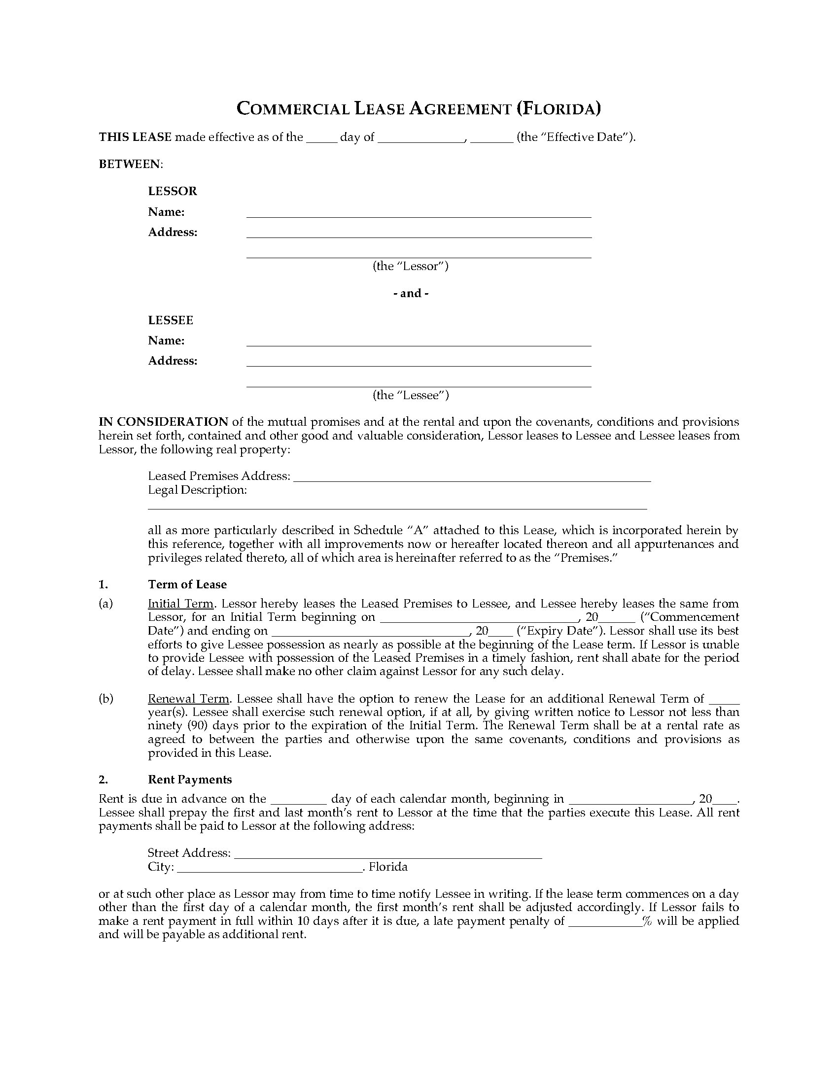 Florida Commercial Triple Net Lease Agreement – Net Lease Agreement Template