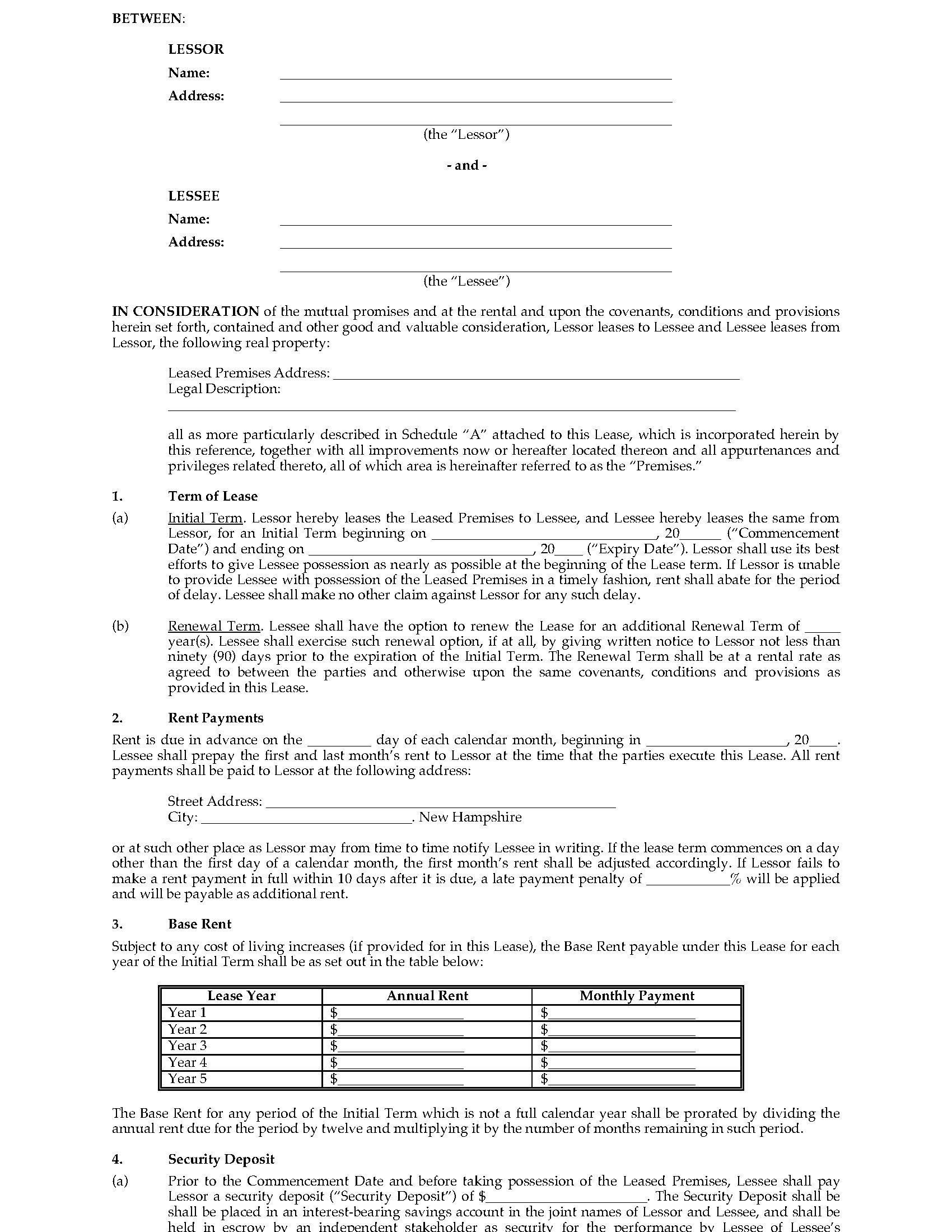 New Hampshire Commercial Triple Net Lease Agreement – Triple Net Lease Form