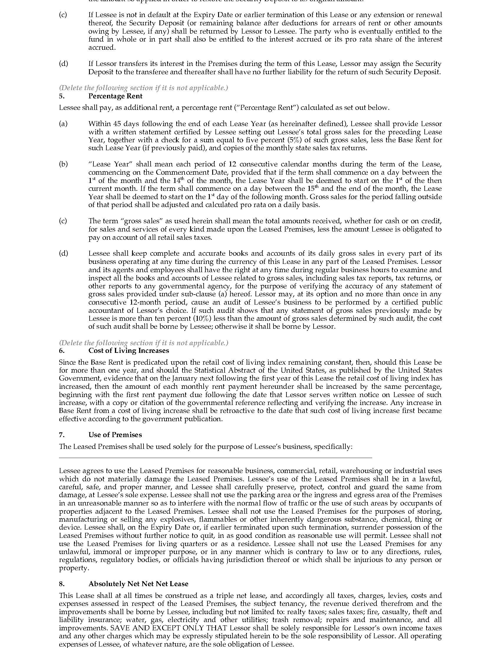 Wisconsin Mercial Triple Net Lease Agreement