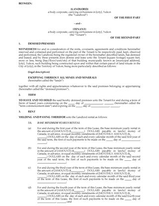 Picture of Yukon Commercial Triple Net Lease Agreement