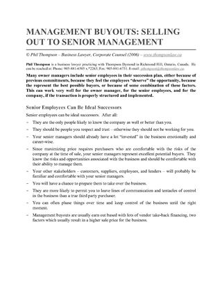 Picture of Management Buyouts - Selling Out to Senior Management