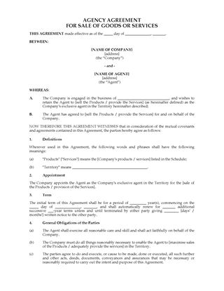 Picture of Australia Exclusive Agency Agreement