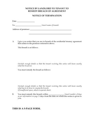 Picture of South Australia Notice to Tenant to Remedy Breach