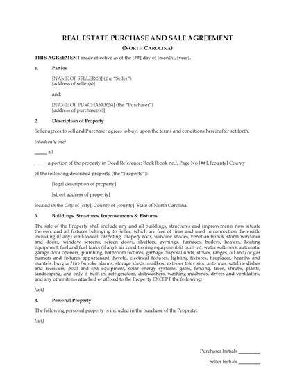 North Carolina Real Estate Purchase And Sale Agreement
