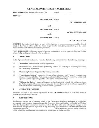 Picture of Australia General Partnership Agreement