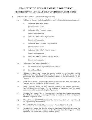 Picture of Australia Real Estate Purchase Agreement for Community Development Lots