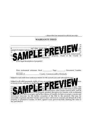 Picture of Kentucky Warranty Deed