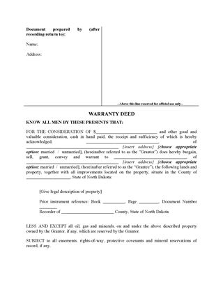 Picture of North Dakota Warranty Deed Form