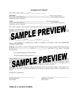 Picture of New Jersey Warranty Deed Form