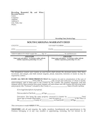 Picture of South Carolina Warranty Deed Form
