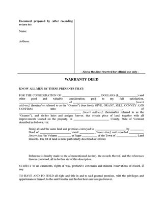Picture of Vermont Warranty Deed Form