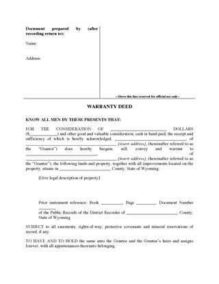 Picture of Wyoming Warranty Deed Form