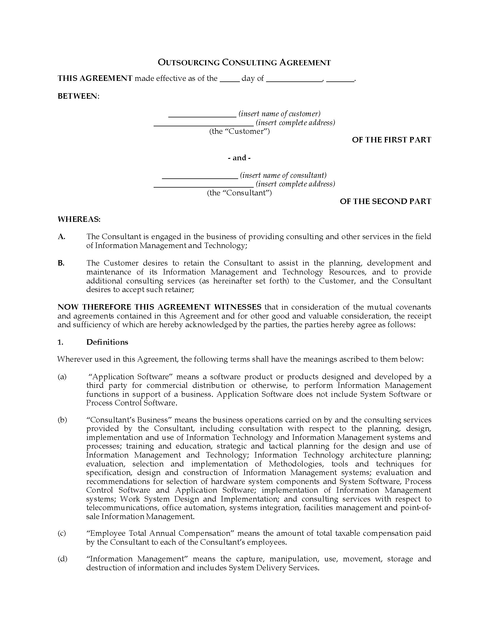 USA Information Technology Outsourcing Consulting Agreement – Consulting Agreement