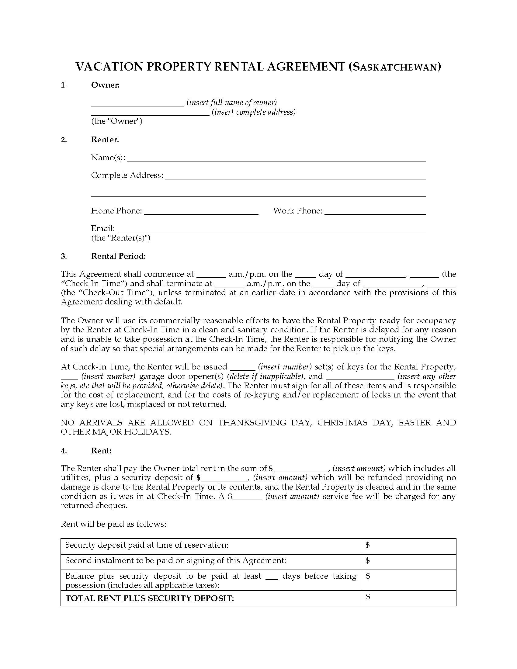 Saskatchewan Vacation Property Rental Agreement – Home Rental Agreement
