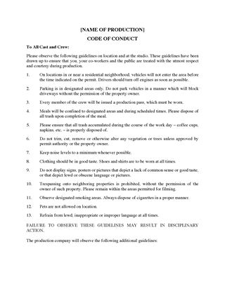 Picture of Code of Conduct for Film Crew
