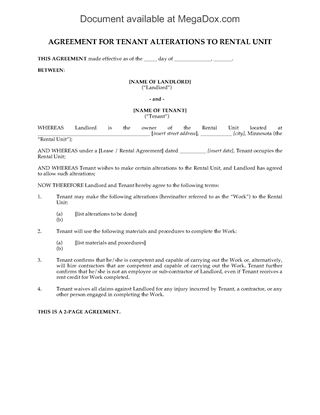 Picture of Minnesota Tenant Agreement for Alterations to Rental Unit