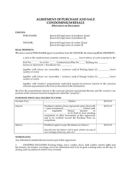 Ontario Condominium Resale Agreement Legal Forms And