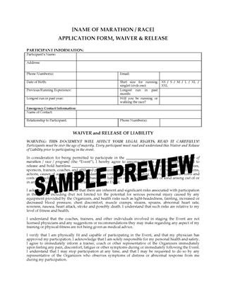 Picture of Marathon Application Form, Waiver and Release