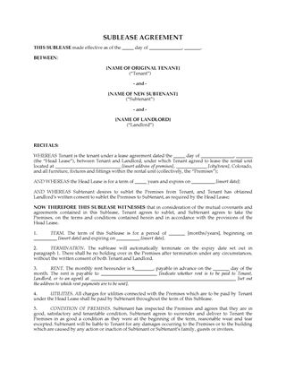 Picture of Colorado Residential Sublease Agreement