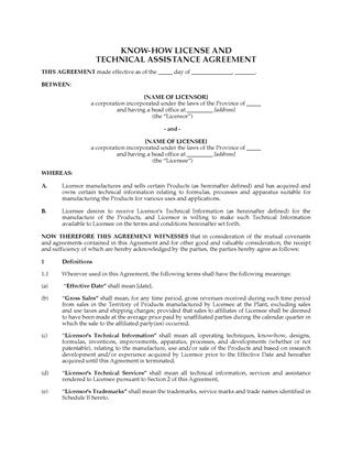 Picture of Canada Know-How License and Technical Assistance Agreement