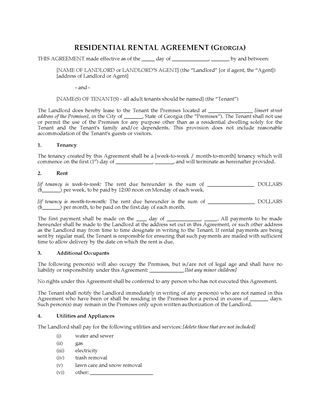 Picture of Georgia Rental Agreement for Residential Premises