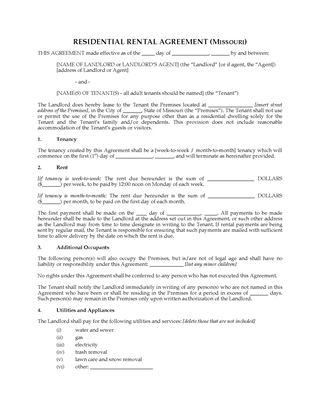 Picture of Missouri Rental Agreement for Residential Premises