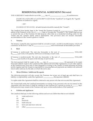 Picture of Nevada Rental Agreement for Residential Premises