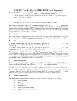 Picture of North Carolina Rental Agreement for Residential Premises