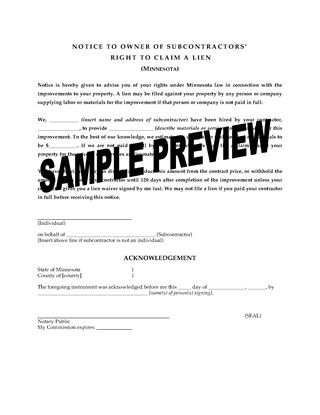 Picture of Minnesota Notice to Owner of Subcontractor's Right to Claim a Lien