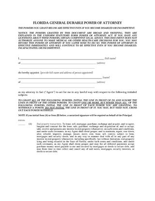 Picture of Florida Immediate Power of Attorney