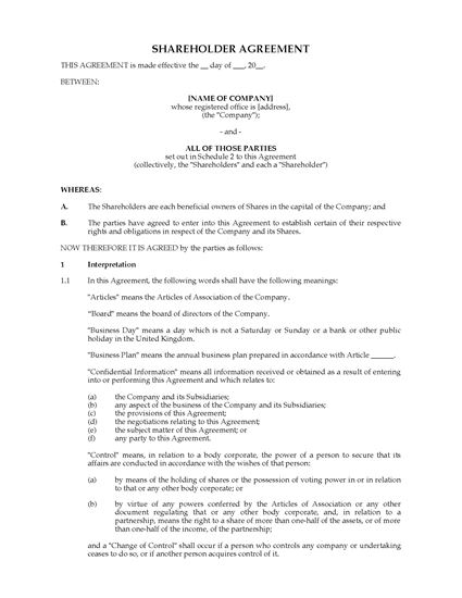 forms shareholder forms united kingdom uk shareholder agreement