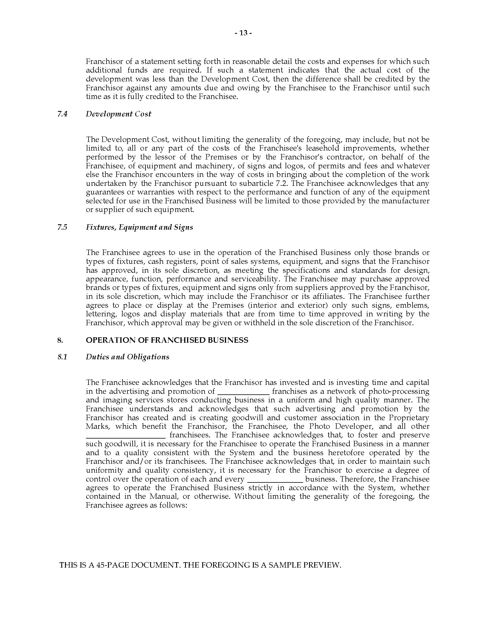 Alberta Franchise Agreement for Developer
