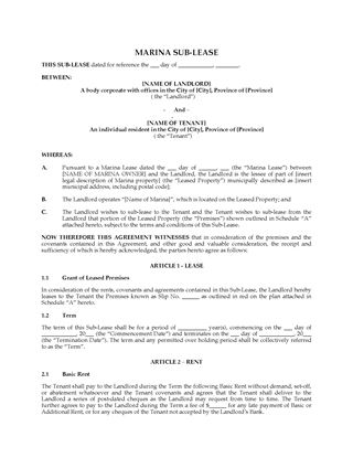 Picture of Canada Marina Sublease Agreement