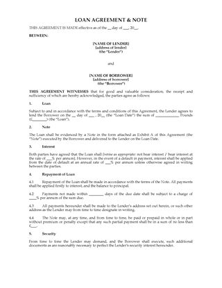 Picture of UK Loan Agreement and Note