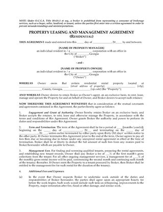Picture of Georgia Residential Property Leasing and Management Agreement