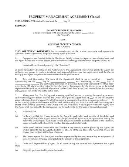 Texas Rental Property Management Agreement