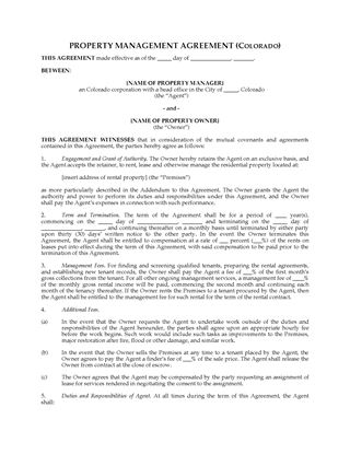 Picture of Colorado Rental Property Management Agreement
