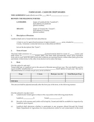 Picture of Tennessee Farm Lease for Cash or Crop Shares