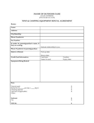 Picture of Camping Equipment Rental Agreement