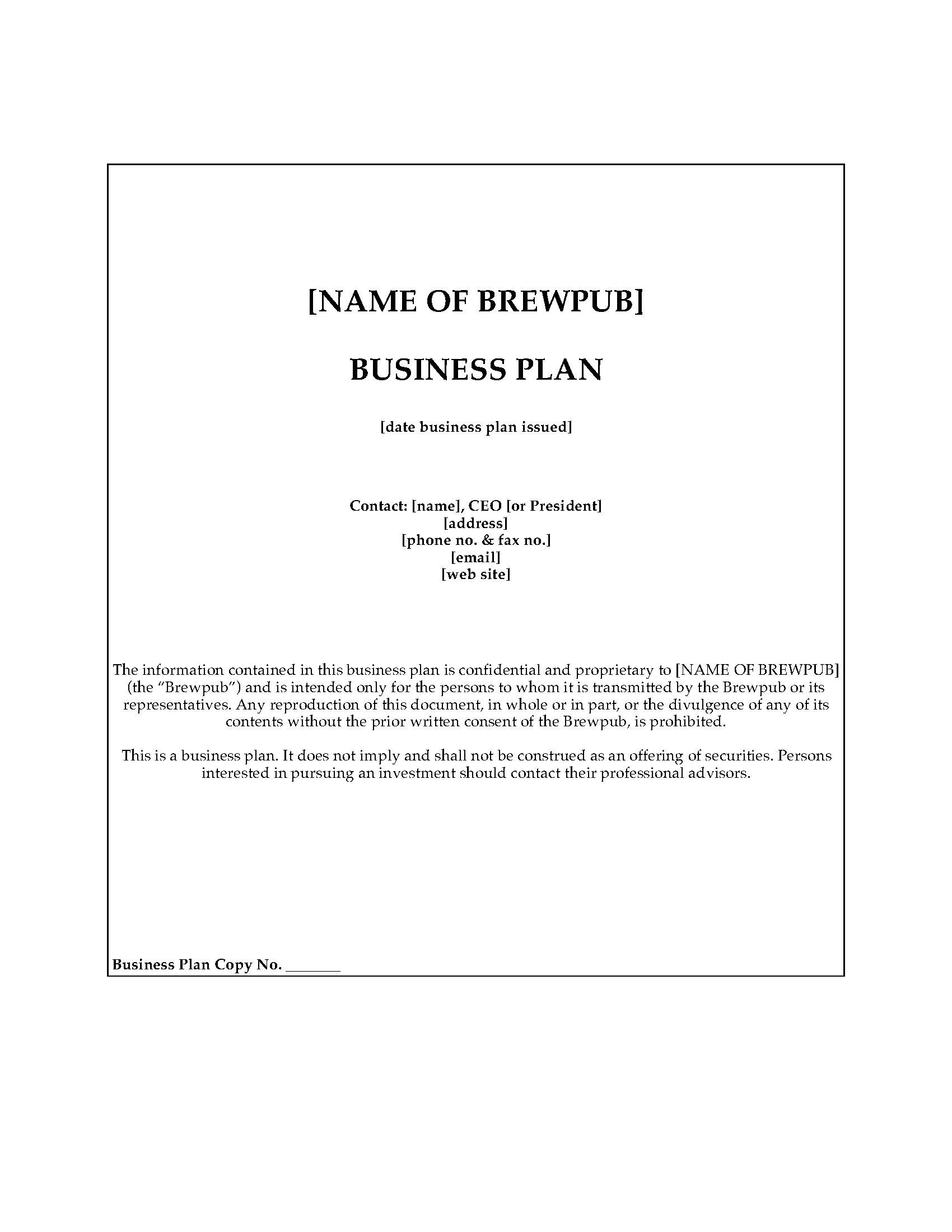 Brewpub business plan template