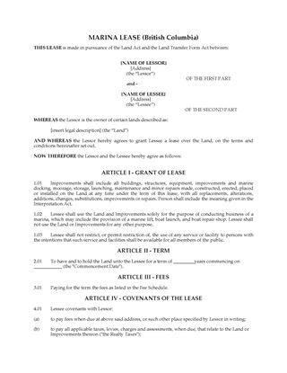 Picture of British Columbia Marina Lease Agreement