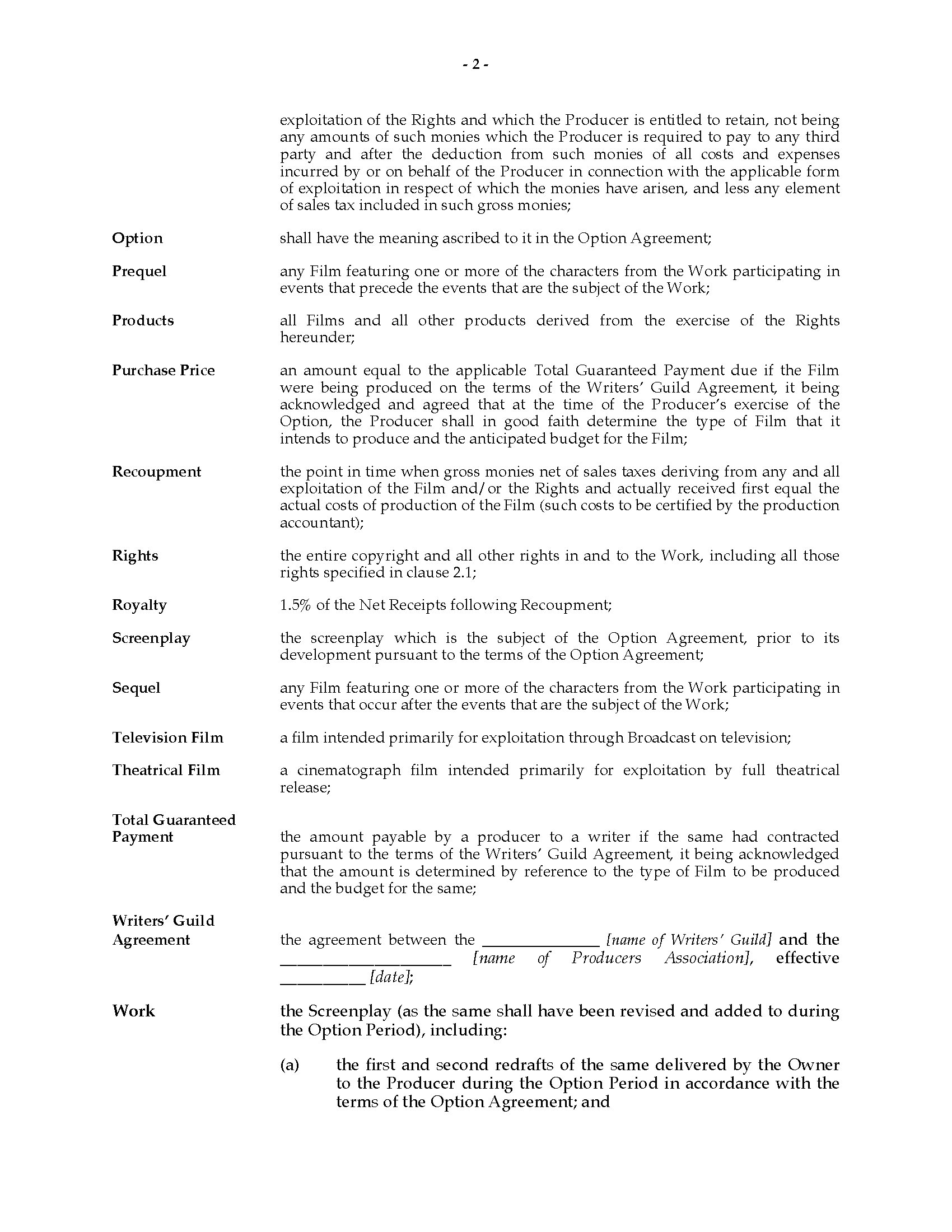 Film Rights Acquisition Agreement   Legal Forms and Business ...