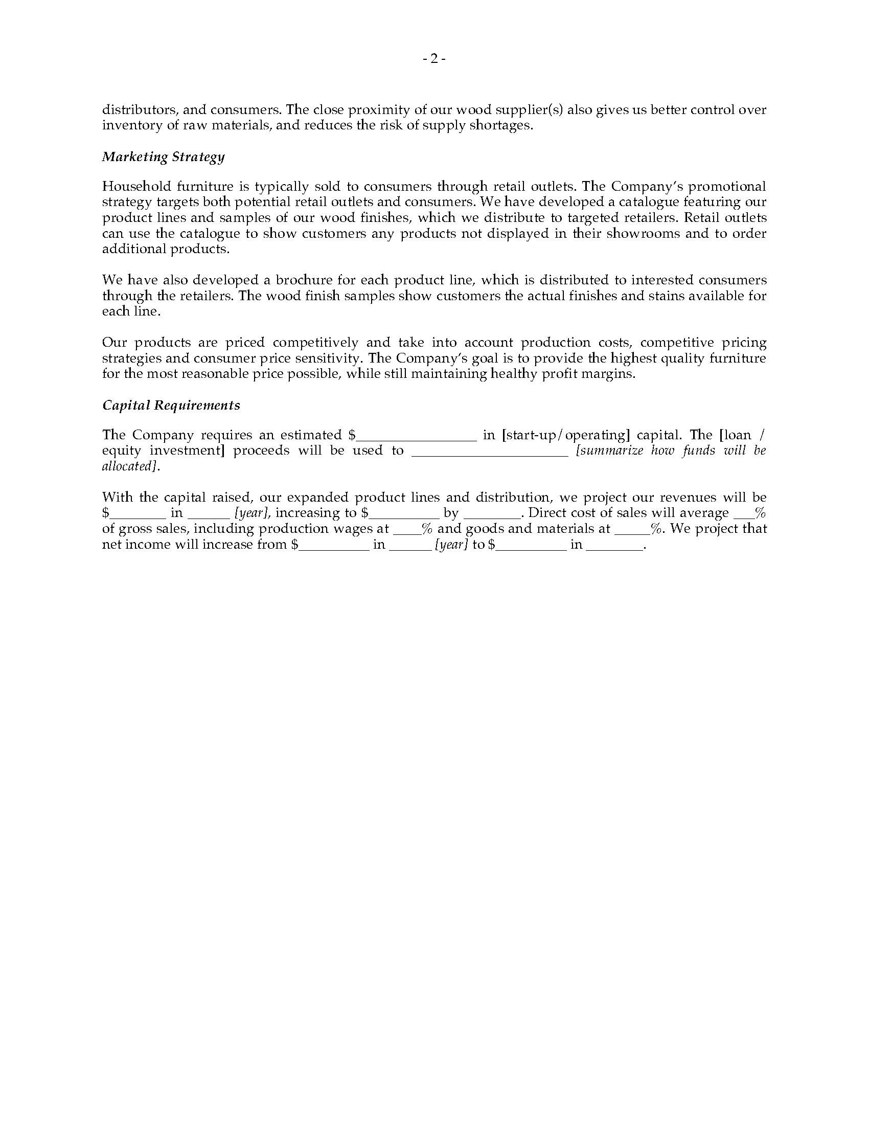 home furnishing business plan