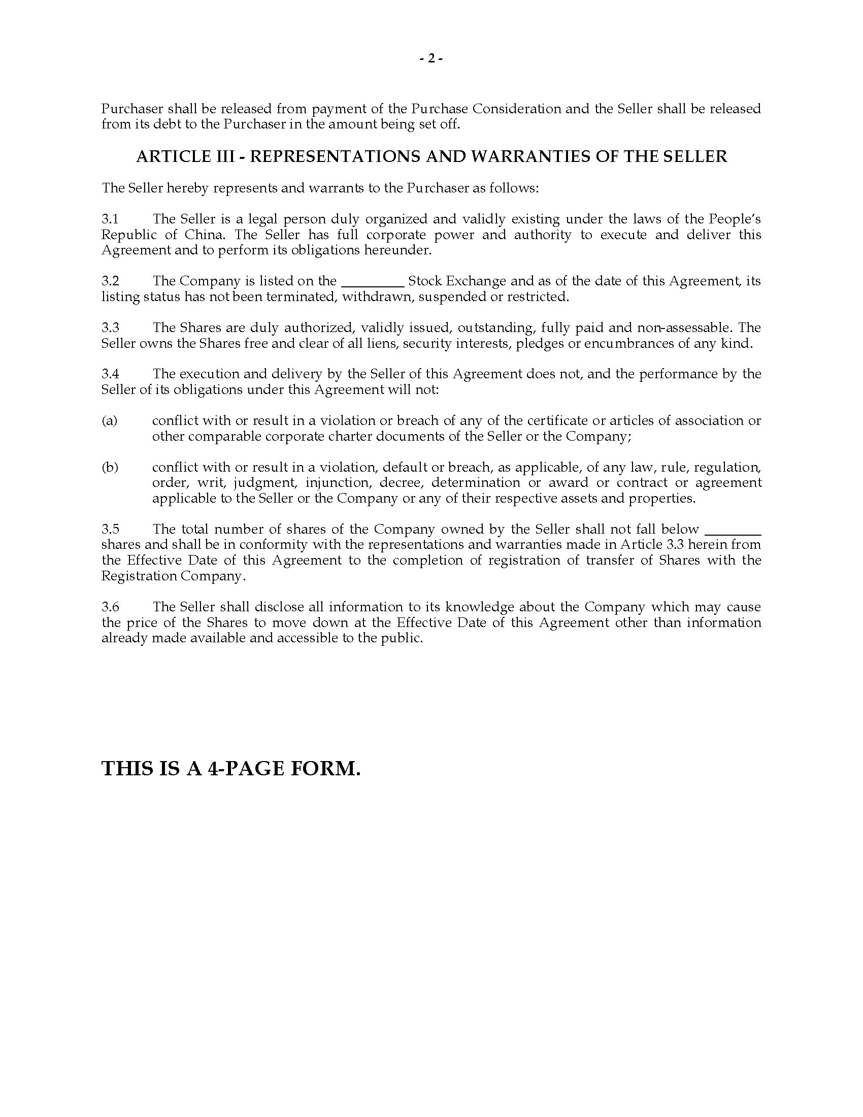 China Purchase Agreement – Stock Purchase Agreement Template